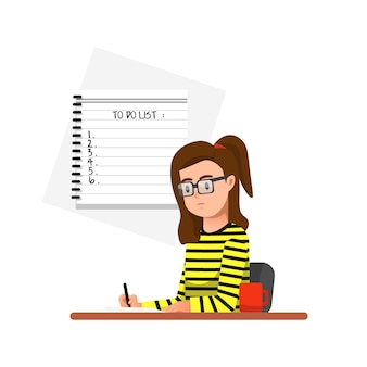 Uma mulher escreve planos
