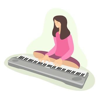 Uma mulher está aprendendo a tocar piano