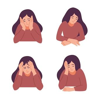 Uma mulher está com dor de cabeça.