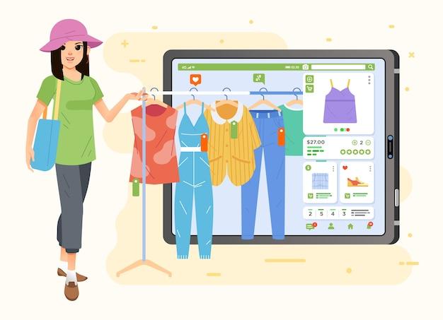 Uma mulher está comprando roupas online usando um tablet, ela escolhe as roupas que deseja no aplicativo de compras