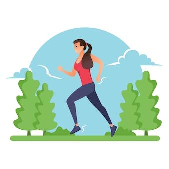 Uma mulher está correndo à tarde contra o pano de fundo das montanhas