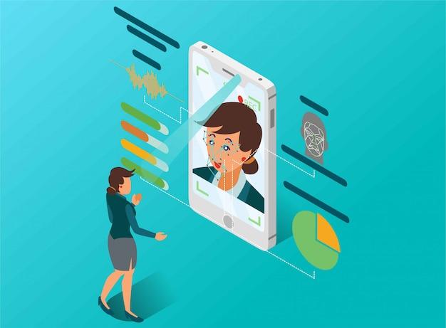 Uma mulher está fazendo uma análise de personalidade com ilustração isométrica de detecção de rosto