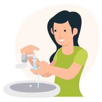 Uma mulher está lavando as mãos antes do almoço