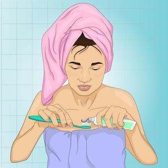 Uma mulher está limpando a ilustração dos dentes
