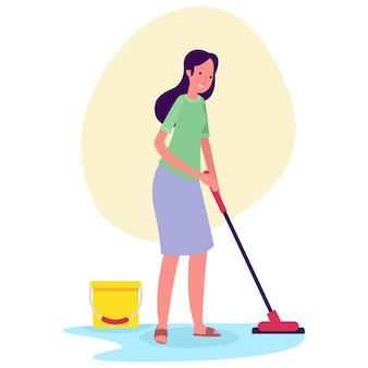 Uma mulher está limpando o chão de uma casa pela manhã