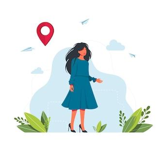 Uma mulher está procurando uma maneira, uma saída para a situação no navegador. mapas, obter metáforas de direções. marcador de ponto de geolocalização para sistema de navegação. ilustração em vetor
