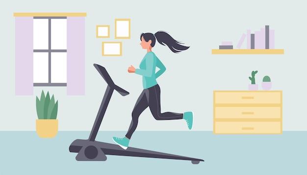 Uma mulher está se exercitando em uma esteira em casa. fitness em casa. o conceito de estilo de vida saudável em casa.