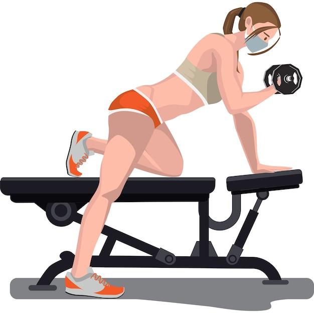 Uma mulher fazendo exercícios usando halteres na academia