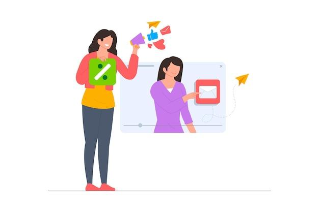 Uma mulher fazendo uma cena de ilustração de curso on-line de marketing digital em estilo simples