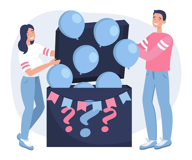Uma mulher grávida e seu marido querem saber o sexo de seu bebê. é um menino. balões azuis saem voando da caixa.