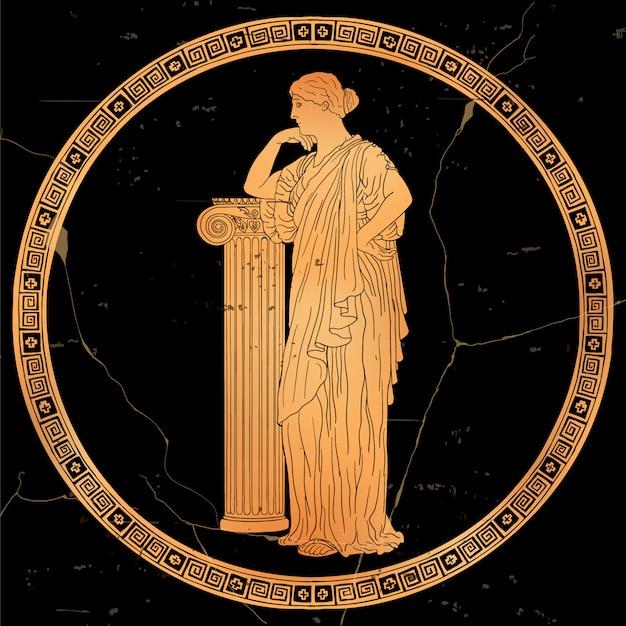 Uma mulher grega antiga de túnica fica e se apoia em um pedestal de pedra. imagem vetorial, isolada no fundo branco.