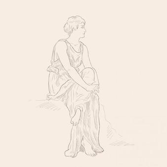 Uma mulher grega antiga em uma túnica sentada com os braços cruzados. imagem vetorial isolada em fundo bege.
