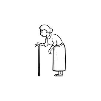 Uma mulher idosa com um ícone de desenho de contorno desenhado à mão de bengala