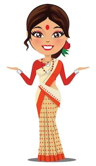 Uma mulher indiana vestindo um saree