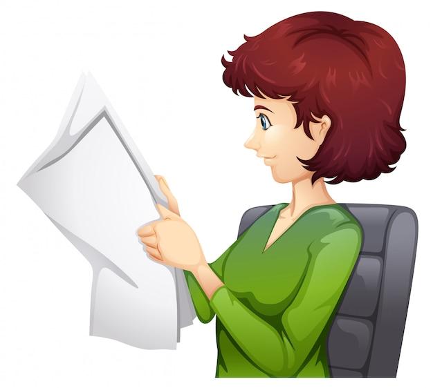 Uma mulher lendo um tablóide