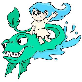 Uma mulher montando um peixe monstro nada juntos, doodle desenhar kawaii. ilustração vetorial arte