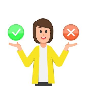 Uma mulher oferece a escolha de sinais de sim ou não