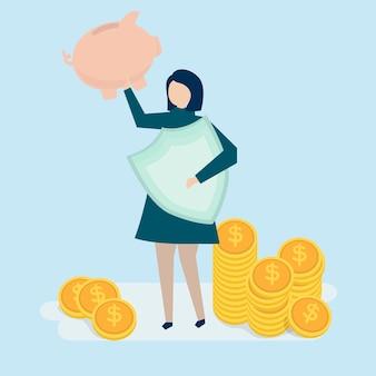 Uma mulher planejando suas finanças pessoais