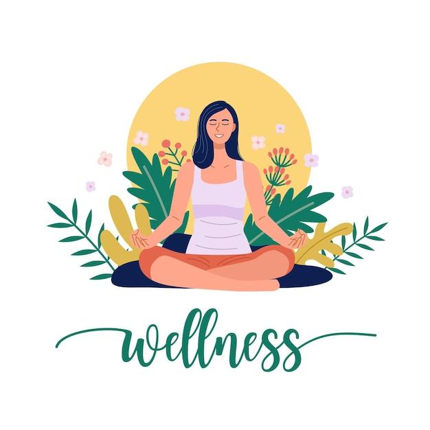 Uma mulher praticando ioga e meditando na natureza. vetor