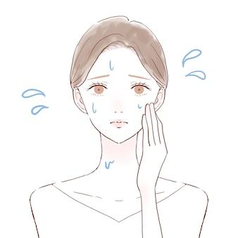 Uma mulher que sofre de doença de hiperperspiração. sobre um fundo branco. estilo de arte bonito e simples.