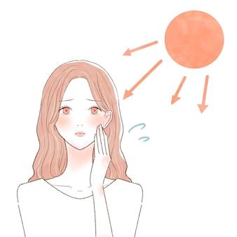 Uma mulher que sofreu queimaduras de sol. sobre um fundo branco.