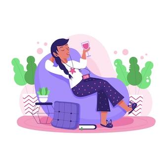 Uma mulher relaxando em casa