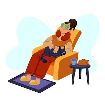 Uma mulher relaxante na poltrona com gato no colo