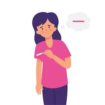 Uma mulher sofre ao verificar um teste de gravidez negativo