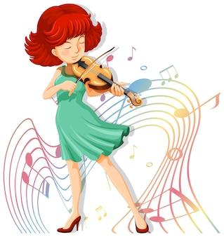Uma mulher tocando violino com símbolos de melodia em fundo branco