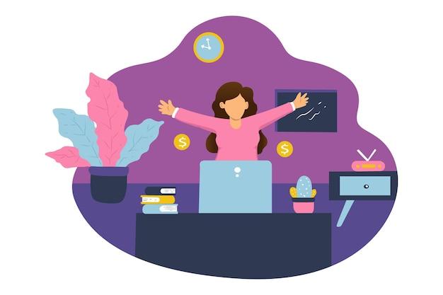 Uma mulher trabalha em casa