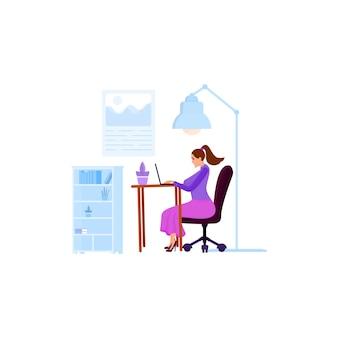 Uma mulher trabalha em um laptop ou se comunica em redes sociais, senta-se em uma cadeira de escritório. objetos isolados