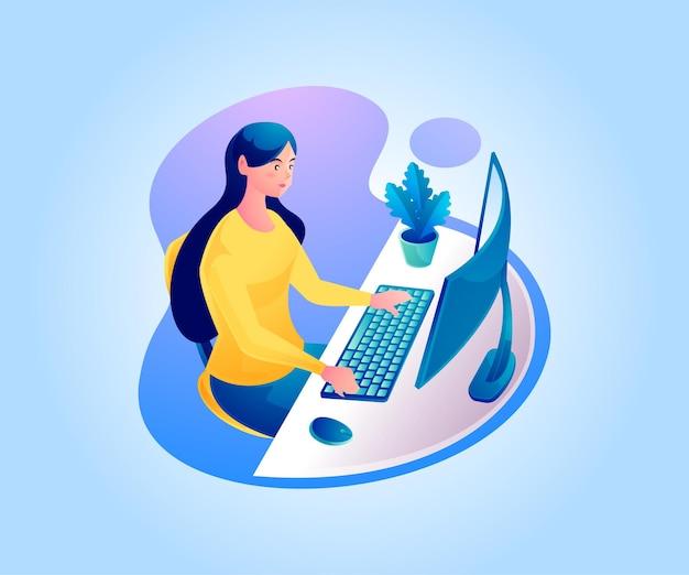 Uma mulher trabalhando em uma mesa de trabalho ou trabalhando em casa