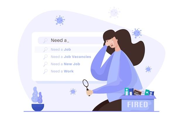 Uma mulher triste foi demitida e precisa de uma ilustração de emprego