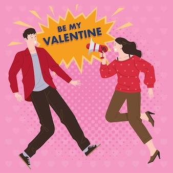 Uma mulher usando um megafone pergunta se um homem quer ser seu parceiro no dia dos namorados com um fundo rosa