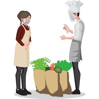 Uma mulher vendendo legumes para o chef