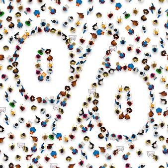 Uma multidão de pessoas sob a forma de um símbolo de sinal de porcentagem em um fundo branco. ilustração vetorial