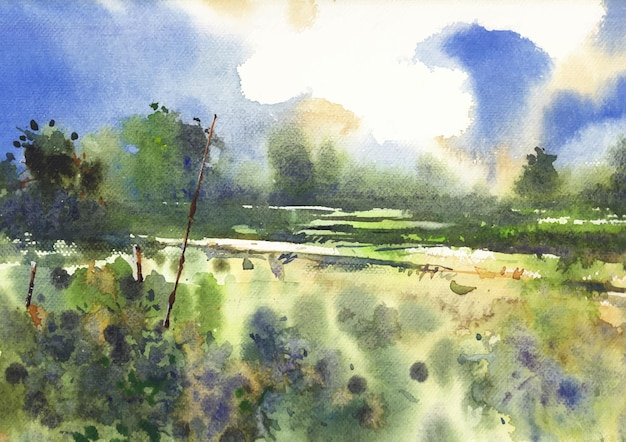 Uma natureza de campo aquarela pintura de paisagem no papel