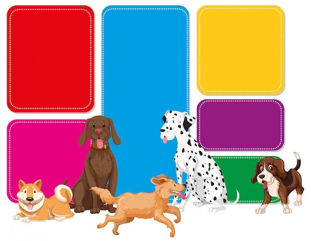Uma nota colorida com cachorro