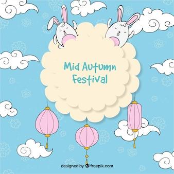 Uma nuvem com lanternas e coelhos, festival do meio do outono