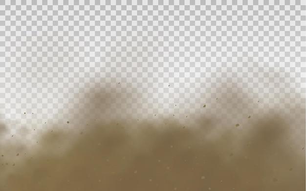 Uma nuvem de areia marrom empoeirada ou areia seca voando com uma rajada de vento de tempestade de areia