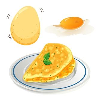 Uma omelete no fundo branco