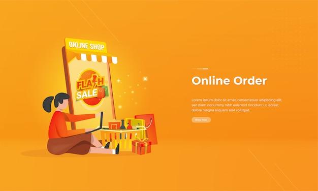 Uma ordem de mulheres compras on-line conceito de ilustração