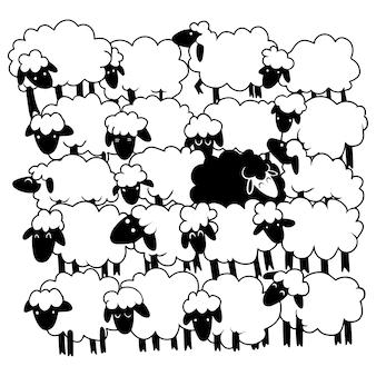 Uma ovelha negra entre ovelhas brancas