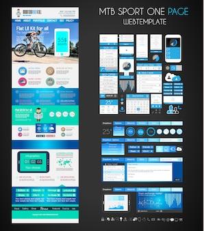 Uma página do site sport plana modelo de interface do usuário.