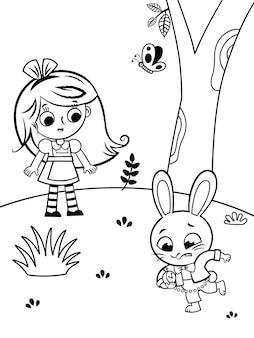 Uma página para colorir para crianças no tema alice no país das maravilhas. ilustração em vetor preto e branco