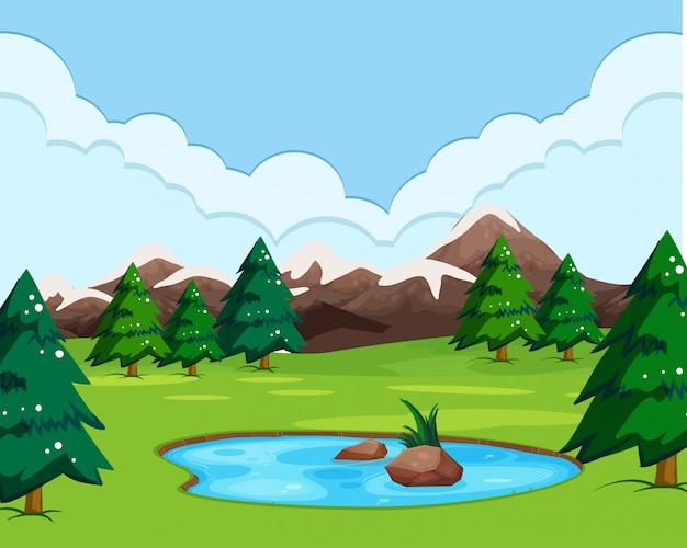Uma paisagem com vista da natureza