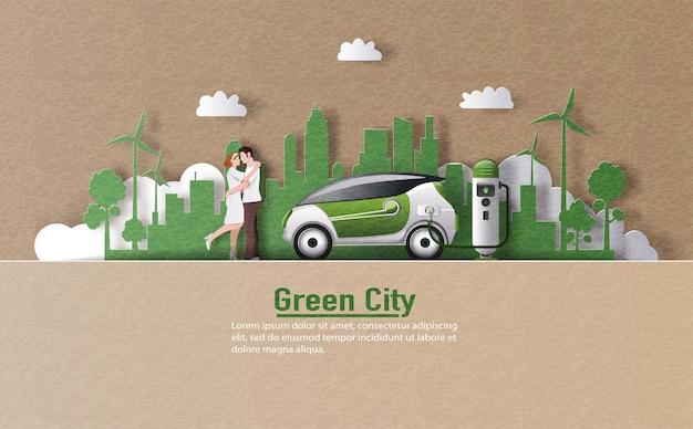 Uma paisagem de casal e carro elétrico com estação de carregador ev em uma cidade moderna.