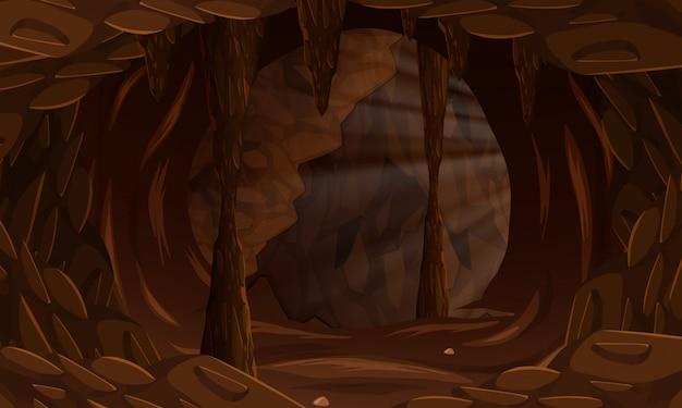 Uma paisagem de caverna escura