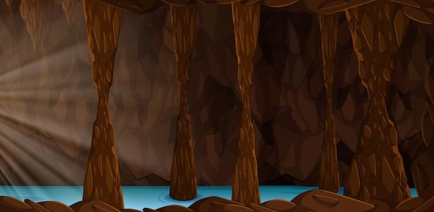 Uma paisagem de caverna misteriosa