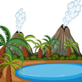 Uma paisagem de ilha do vulcão